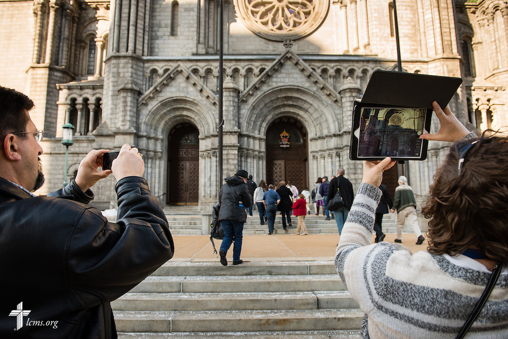 New missionaries for The Lutheran Church–Missouri Synod practice photography skills at the Cathedral Basilica on Thursday, March 5, 2015, in midtown St. Louis LCMS Communications/Erik M. Lunsford