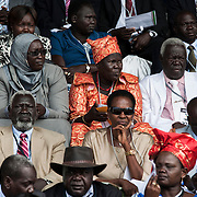 VIPs guests waiting for the international presidents form Uganda, Somali, Bostwana and Rwanda to arrive at the Mausoleum of John Gareng, former leader of the political party SPLM. <br /> <br /> As South Sudan is about to celebrate its second anniversary of its independence, the national kickboxing team organized its second international competition with kick boxer coming from the neighboring countries and Italy.