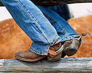 The boots, spurs, and chaps are functional pieces of equipment used every day by the American cowboy. As well as being functional they can be quite decorative and the spurs are often inlayed with silver or gold.