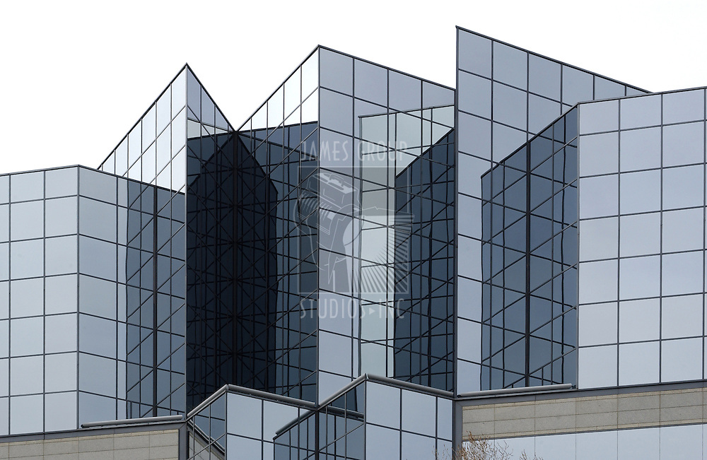 wide orientation of angular glass office building