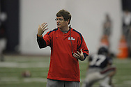Ole Miss assistant coach Gunter Brewer spring football practice in the IPF in Oxford, Miss. on Monday, April 4, 2011.