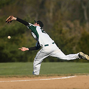 St. Marks Infielder Christopher Ludman (20) attempts to catch the ball in foul territory during a regular season baseball game between the St. Marks Spartans and Caravel Academy at St. Marks Stadium Thursday April 14, 2016 in Wilmington.