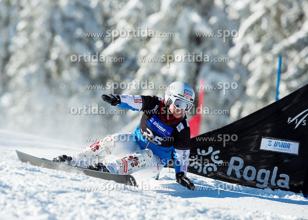 Claudia Riegler of Austria competes during Qualification Run of Ladies' Parallel Giant Slalom at FIS Snowboard World Cup Rogla 2015, on January 31, 2015 in Course Jasa, Rogla, Slovenia. Photo by Vid Ponikvar / Sportida