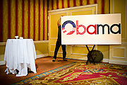 A Barack Obama supporter hoists a homemade sign during a Super Tuesday primary election party for the Illinois Senator on Feb. 5, 2008 in San Francisco, California. Of the 21 states voting, Obama won 13 and Hillary Clinton eight.