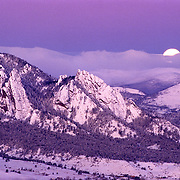Moon at Sunrise t Flatirons, Boulder, Colorado, February 1996,