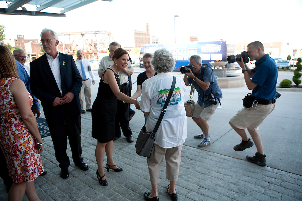 Republican presidential hopeful Michele Bachmann arrives for a campaign stop on Sunday, July 24, 2011 in Davenport, IA.