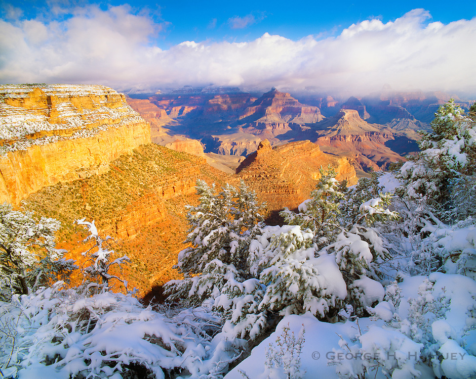0107-1009B ~ Copyright:  George H. H. Huey ~ View of the Battleship and Cheop's Pyramid from the South Rim, winter with a clearing strom.  Grand Canyon National Park, Arizona.
