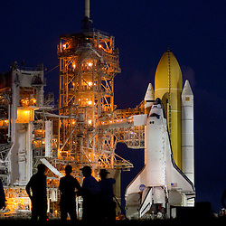 NASA's STS-133 space shuttle Discovery sits on launch pad 39A after making the trip from the vehicle assembly building at the Kennedy Space Center in Cape Canaveral, Florida September 21, 2010.This will be space shuttle Discovery's last trip to the launch pad.  Photo/Scott Audette
