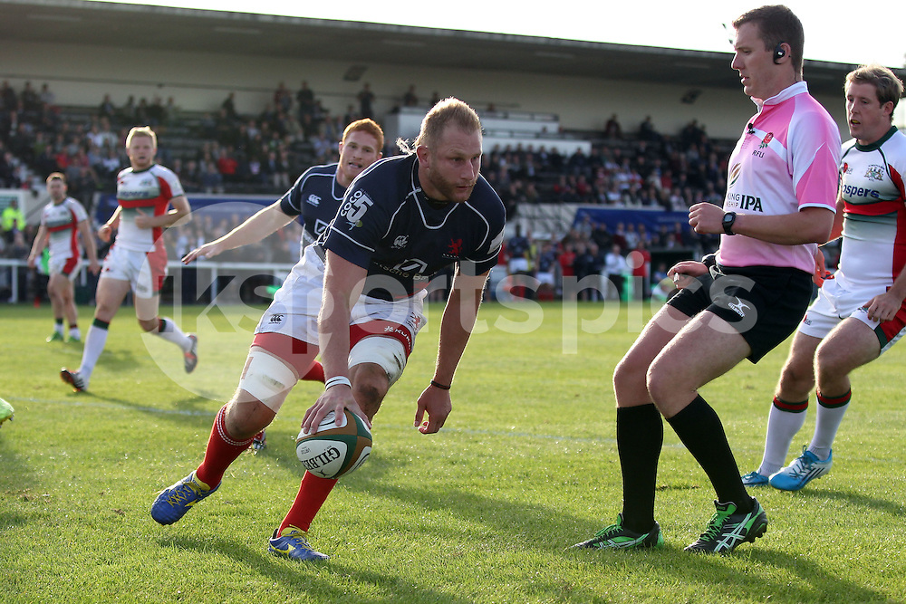 Mark Bright scores the second of his tries during the Green King IPA Championship match between London Scottish &amp; Plymouth Albion at Richmond, Greater London on Sunday 5th October 2014<br /> <br /> Photo: Ken Sparks | UK Sports Pics Ltd<br /> London Scottish v Plymouth Albion, Green King IPA Championship,5th October 2014<br /> <br /> &copy; UK Sports Pics Ltd. FA Accredited. Football League Licence No:  FL14/15/P5700.Football Conference Licence No: PCONF 051/14 Tel +44(0)7968 045353. email ken@uksportspics.co.uk, 7 Leslie Park Road, East Croydon, Surrey CR0 6TN. Credit UK Sports Pics Ltd