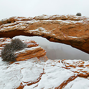 Mesa Arch, a 90-foot natural arch located in Canyonlands National Park, Utah, is dusted by fresh snow. The arch is eroded by wind and repeated freezing and thawing from winter storms.