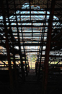 The inside of a tobacco drying barn in Pinar del Rio near Vinales, Cuba. Part of the roof and the end wall are missing due to hurricane damage.