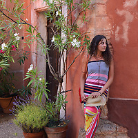 Young woman  at the town of Roussillon,Vaucluse,Provence,France<br /> Model release 0351