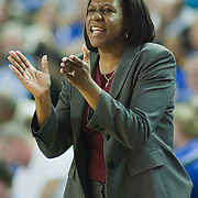 George Mason Women's Head Coach Jeri Porter yells out instruction to her players from the sideline in the second half of an NCAA college basketball game against Delaware Thursday, Feb. 23, 2012, at the Bob Carpenter Center in Newark, Del. (AP Photo/Saquan Stimpson)