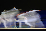 Rio de Janeiro, Brazil, July 20 of 2007:   Venezuelan fencing athlete Silvio Fernández (right) won Canadian Igor Tikhomirov at fencing quarterfinals. (Photo: Caio Guatelli)