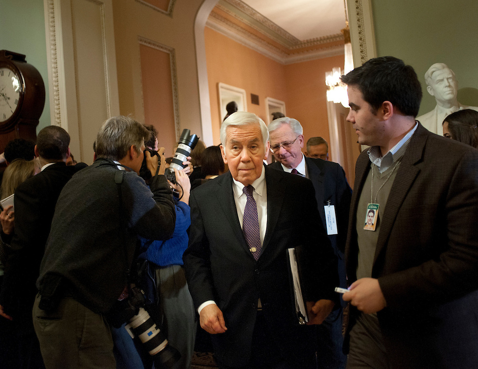 Dec 20, 2010 - Washington, District of Columbia, U.S. -  Senator DICK LUGAR (R-IN) works his way through the media following a closed senate session to discuss some of the classified details of the New START treaty which is being debated in the Senate. (Credit Image: © Pete Marovich/ZUMA Press)