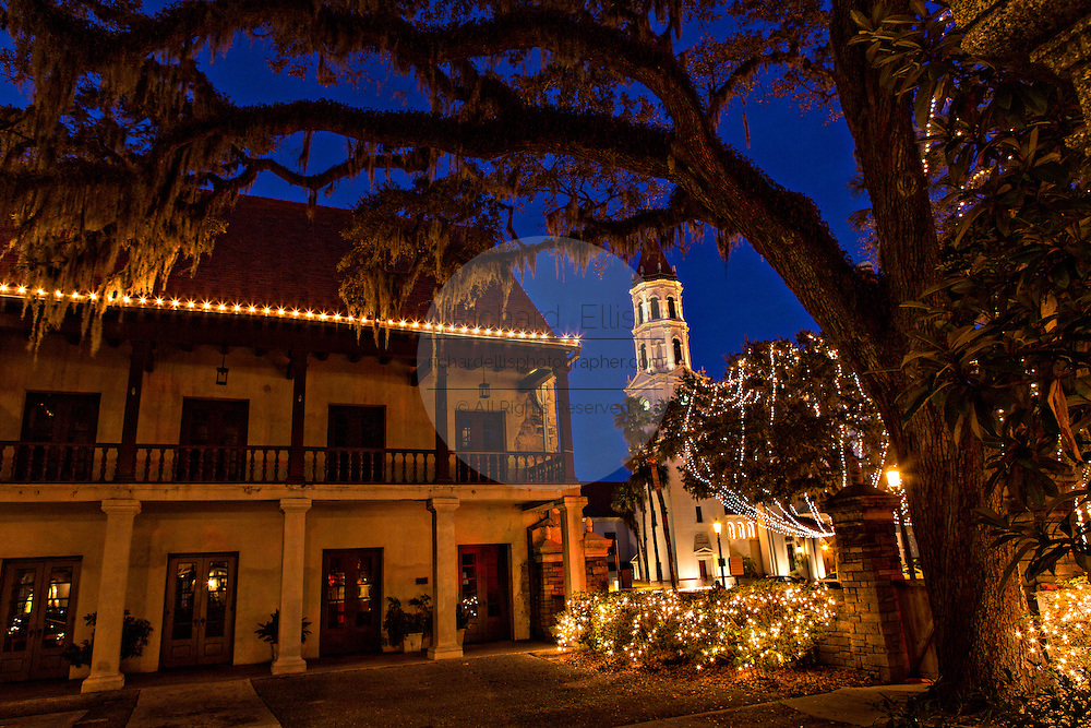 Christmas lights decorate the Government House in St. Augustine, Florida. The building was originally the Alcazar Hotel.