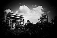 Bhopal, twenty-five years later..Clouds pass over the Union Carbide plant in the city of Bhopal in the state Madhya Pradesh, Indai October 8, 2009. ..Twenty-five years after a gas leak in the Union Carbide factory in Bhopal killed at least eight thousand people, toxic material from the 'biggest industrial disaster in history' continues to affect Bhopalis. A new generation is growing up sick, disabled and struggling for justice...The effects of the disaster on the health of generations to come, both through genetics transferred from gas victims to their children and through the ongoing severe contamination, caused by the Union Carbide factory, has only started to develop visible forms recently...