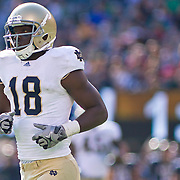 Norte Dame Freshmen Wide Receiver (#18) Duval Kamara during game action at The New Giant's Stadium. Navy defeats Notre Dame 35-17 at The New Giant's Stadium in East Rutherford New Jersey