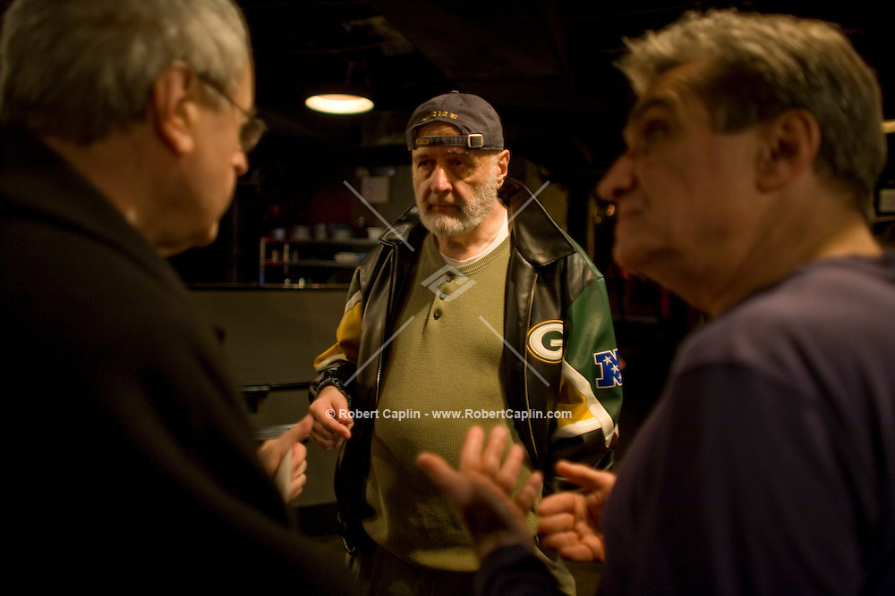 Promoter Milan Simich and brother of current US poet laureate Charles Simic, left, (last names spelled differently) prior to a poetry reading during to a collaboration with jazz musicians and former laureate, Robert Pinsky, right, at the Jazz Standard in New York, U.S. 1/8/08.