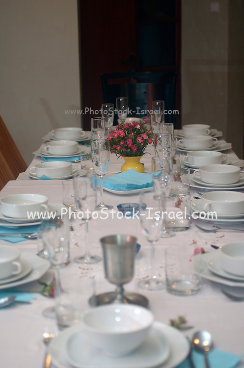 "Table set for a Jewish Festive meal on Passover (transliterated as Pesach or Pesah), also called chag HaMatzot - Festival of Matzot is a Jewish holiday beginning on the 15th day of Nisan, which falls in the early spring and commemorates the Exodus and freedom of the Israelites from ancient Egypt. Passover marks the ""birth"" of the Jewish nation, as the Jews were freed from being slaves of Pharaoh and allowed to become servants of God instead."