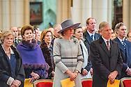 BRUSSEL - Koning Filip en de Koningin Mathilde  tijdens de jaarlijkse eucharistieviering bij ter nagedachtenis van de overleden Leden van de Koninklijke Familie. De mis vindt plaats in de Onze-Lieve-Vrouwkerk te Laken. ROBIN UTRECHT<br /> 233/5000<br /> BRUSSELS - King Philippe and Queen Mathilde during the annual celebration of the Eucharist in memory of the deceased members of the Royal Family. The Mass will be held at the Our Lady Church in Laeken. ROBIN UTRECHT