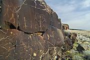 Native American pictograph rock carvings at Petroglyph Lake, Hart Mountain National Antelope Refuge, southeastern Oregon.