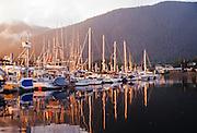 Alaska. Sitka. RA, Sealing Cove Harbor, sunset, Japonski Island.