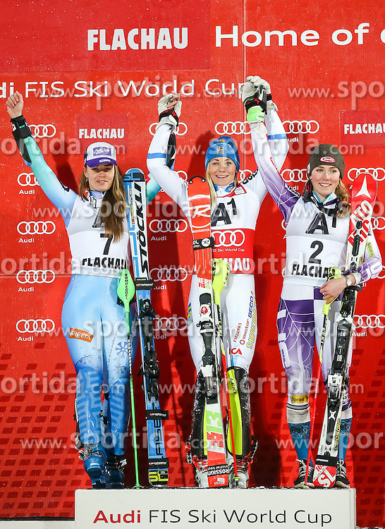 13.01.2015, Hermann Maier Weltcupstrecke, Flachau, AUT, FIS Weltcup Ski Alpin, Flachau, Slalom, Damen, Siegerehrung, im Bild v.l.: Tina Maze (SLO, 2. Platz), Frida Hansdotter (SWE, 1. Platz), Mikaela Shiffrin (USA, 3. Platz) // f.l.: 2nd placed Tina Maze of Slovenia, Winner Frida Hansdotter of Sweden and 3rd placed Mikaela Shiffrin of the USA celebrate on Podium during the award ceremony for the ladie's Slalom of the FIS Ski Alpine World Cup at the Hermann Maier Weltcupstrecke in Flachau, Austria on 2015/01/13. EXPA Pictures © 2015, PhotoCredit: EXPA/ JOHANN GRODER