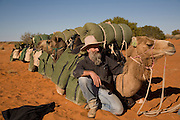 Camel Trek just outside William Creek in North Eastern South Australia.  Considered to be one of Australia's leading camel men Philip Gee has been a senior guide with Explore the Outback camel safaris since 1987 and he has trained hundreds of wild camels. Philip who is a specialist Historian has led countless expeditions into this wilderness over the past 20 years and knows the Lake Eyre desert country very well. Explore the Outback camel safaris are based in the central Australian deserts near William Creek along the Oodnadatta Track (Lake Eyre, South Australia), and operate from April through to October every year.