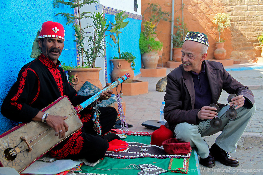 Africa, Morocco, Rabat. Street music of Kasbah of Oudaya, a UNESCO World Heritage Site.