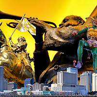 New Orleans, Louisiana Composite of Four Photos<br /> Four photos of New Orleans, Louisiana are: 1) The Maid of Orl&eacute;ans or Joan the Arch statue gifted by France in 1958 and now on Decatur Street near the French Market; 2) Statue of Louis Armstrong playing trumpet inside Harrah&rsquo;s Casino and Hotel; 3) A Mardi Gras jester statue near Riverwalk; and 4) Western skyline of New Orleans from across the Mississippi River.