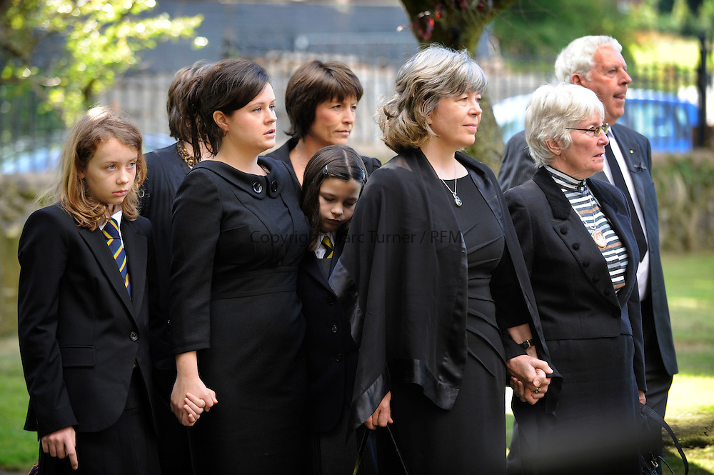 Jimmy Reid Funeral - United Church of Bute, Rothesay.<br /> <br /> Joan Reid with daughter Eileen