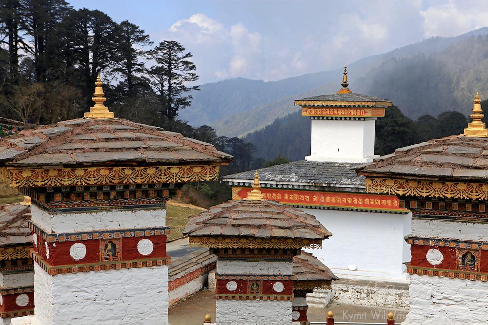 Asia, Bhutan, Thimpu. Druk Wangyal Khangzang Chorten at Dochu La pass.