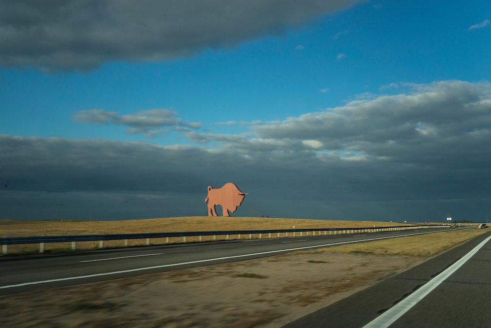 A large bison monument along the Brest-Minsk highway on Sunday, September 18, 2016 in Petkavichy, Belarus.