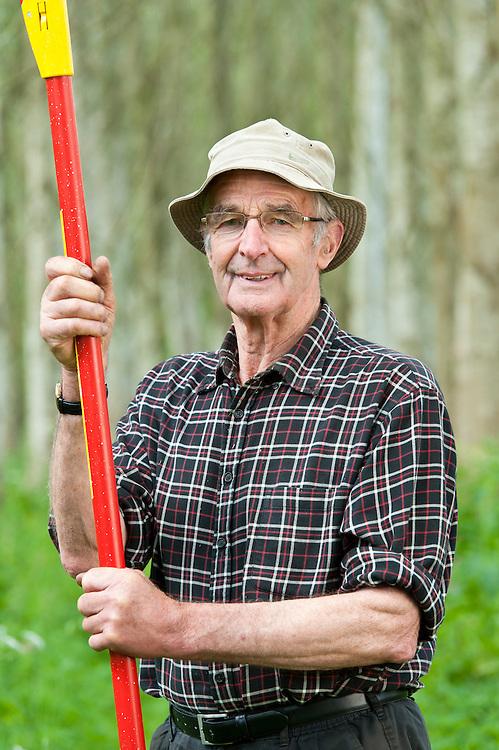 Harold Jackson in the woodland he and Rose have created, Balgarrock, near Aberlemno, Angus