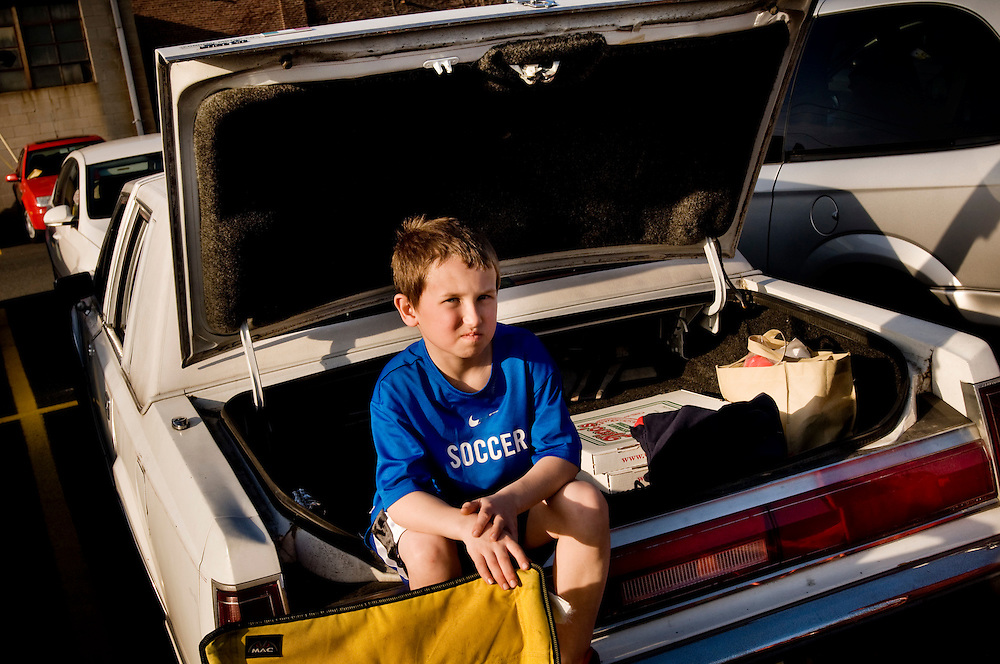 Redbulls fan Nick Linden in the trunk of a Lincoln Towncar before the game...Inauguration of the Redbulls Arena in Harrison, New Jersey. The New York Redbulls beat Brazilian Santos..Photographer: Chris Maluszynski /MOMENT
