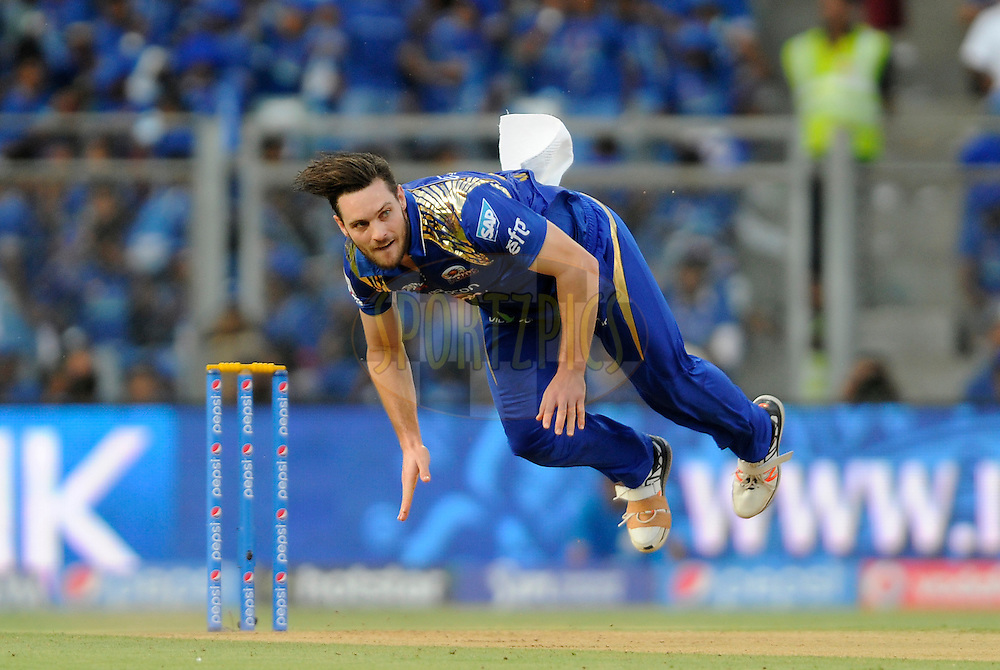 Mitchell McClenaghan of Mumbai Indians bowls during match 23 of the Pepsi IPL 2015 (Indian Premier League) between The Mumbai Indians and The Sunrisers Hyferabad held at the Wankhede Stadium in Mumbai India on the 25th April 2015.<br /> <br /> Photo by:  Pal Pillai / SPORTZPICS / IPL