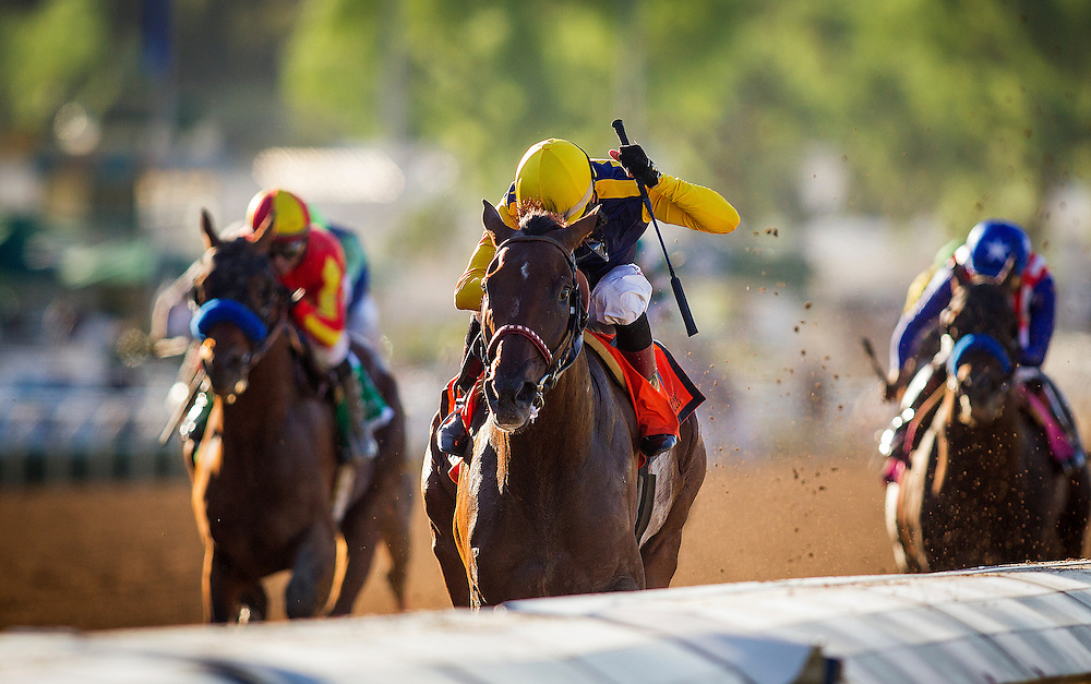 September 26 2015: Smooth Roller with Tyler Baze up wins the Awesome Again Stakes at Santa Anita Park, Arcadia CA. Alex Evers/ESW/CSM