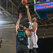 Delaware 87ers Forward SHANE EDWARDS (13) shoots over defender Greensboro Swarm Forward Perry Ellis (34) in the first half of an NBA D-league regular season game between the Delaware 87ers and the Greensboro Swarm (Charlotte Hornets) Wednesday, March 29, 2017, at The Bob Carpenter Sports Convocation Center in Newark, DEL