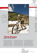 Coverage of Lance Armstrong's victory in the 2011 Alpine Odyssey Mountain Bike Race for Wielerland Magazine of the Netherlands.