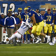 Delaware Tight end OWEN TYLER (21) breaks a tackle during a week one game between the Delaware Blue Hens and the Delaware State Hornets, Thursday, Sept. 01, 2016 at Tubby Raymond Field at Delaware Stadium in Newark, DE.