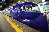 Rap:t limited express trains, tokkyu take 30 minutes and cost 1390 yen all reserved seats from Kansai Airport to Namba Station in this unusual train that was designed to be both futuristic looking and retro at the same time.