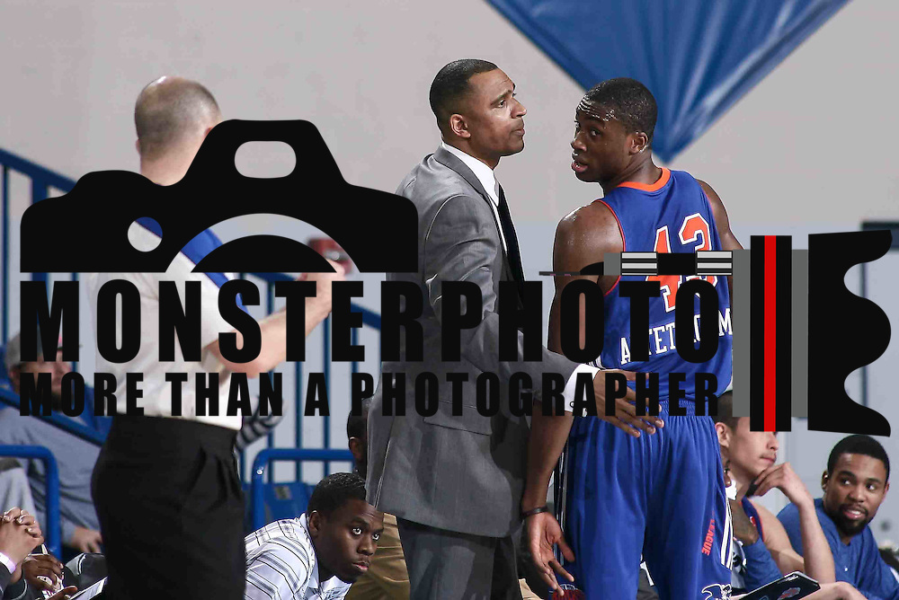 Westchester Knicks Forward Thanasis Antetokounmpo (43) RIGHT, exchanges words with OFFICIAL Jacyn Goble (23) in the second half of a NBA D-league regular season basketball game between the Delaware 87ers and the Westchester Knicks (New York Knicks) Wednesday, Feb. 17, 2015 at The Bob Carpenter Sports Convocation Center in Newark, DEL