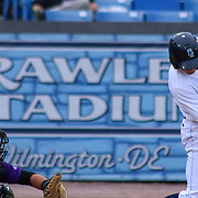 Wilmington Blue Rocks catcher Cam Gallagher (35) makes contact with the ball in the first inning of a MLB minor league regular season baseball game between the Wilmington Blue Rocks and the Winston-Salem Dash Monday, April 14. 2014 at Daniel S. Frawley Stadium in Wilmington, DEL.