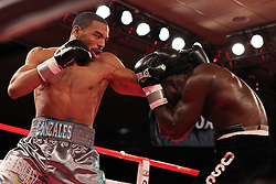 October 28, 2011; Atlantic City, NJ; USA; Brandon Gonzales (grey) and Ossie Duran during their 8 round bout on Shobox at Bally's in Atlantic City, NJ. Gonzales won a split decision.