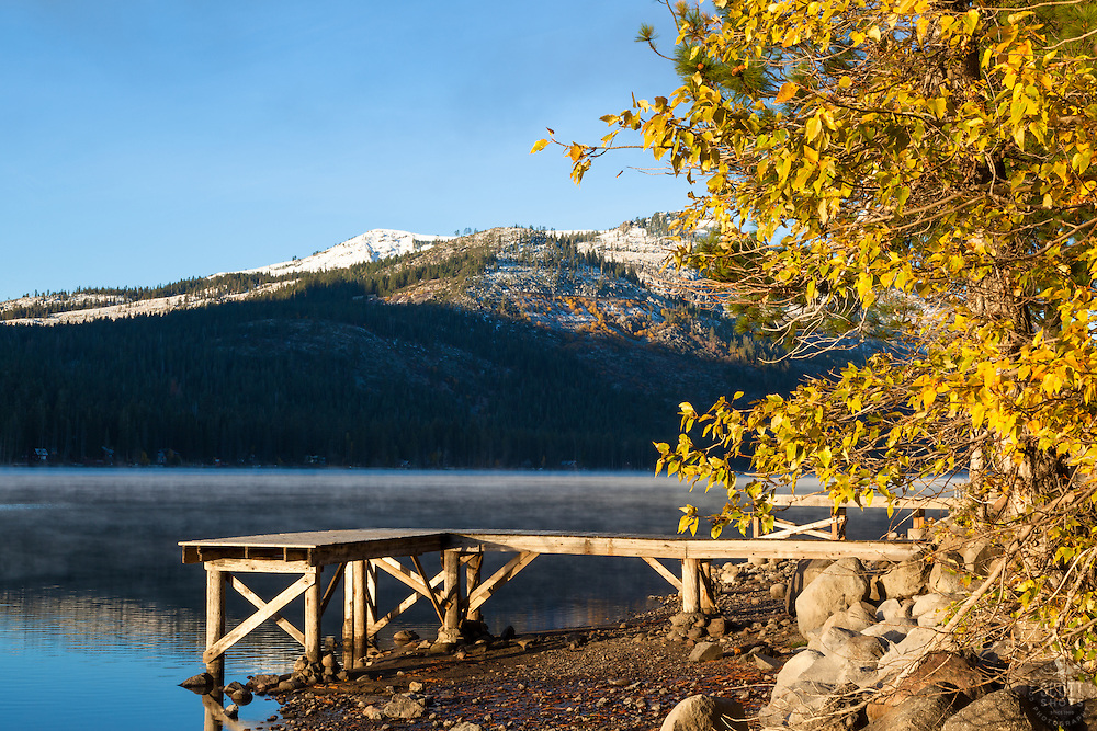 """""""Donner Lake Morning 19"""" - Photograph of a foggy Donner Lake and a dock shot early on an autumn morning."""