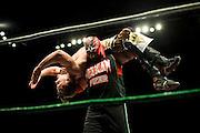 Lucha Libre AAA wrestler Crazyboy prepares to bodyslam Jack Evans at a match in Sacramento, CA March 28, 2009.