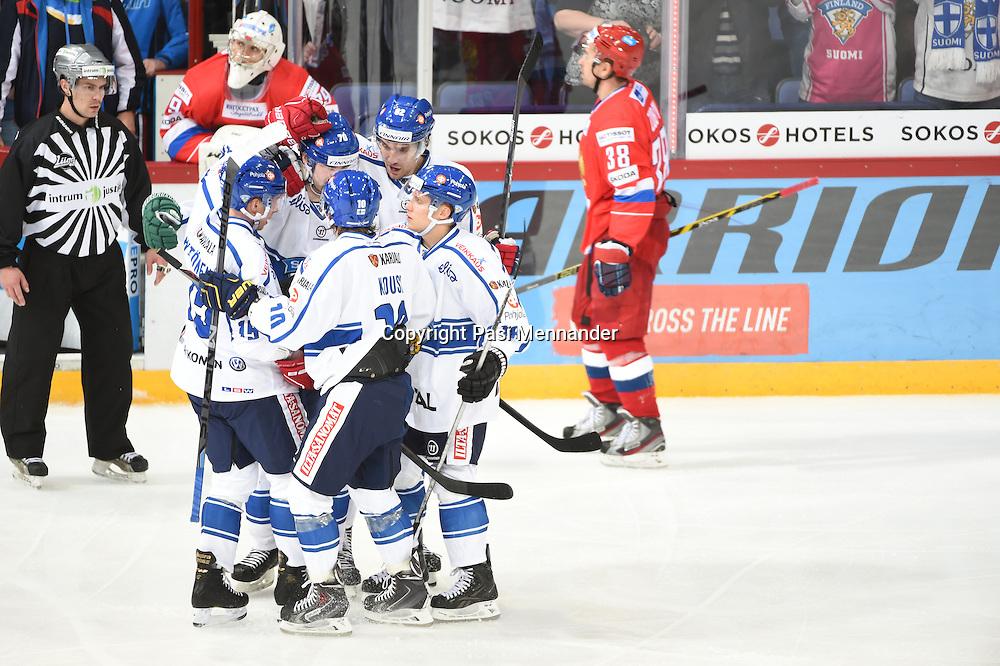 Karjala-turnauksen ottelu Venäjä-Suomi pelattiin Hartwall Arenassa lauantaina 8.11.2014. Suomi voitti ottelun maalein 6-2.