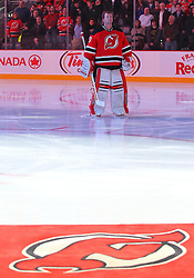 Jan 31, 2013; Newark, NJ, USA; New Jersey Devils goalie Martin Brodeur (30) waits on ice before the first period of their game against the New York Islanders at the Prudential Center.