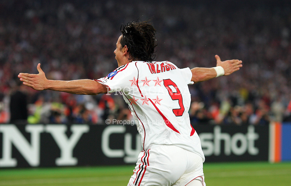 Athens, Greece - Wednesday, May 23, 2007: AC Milan's Filippo Inzaghi celebrates scoring the second goal against Liverpool during the UEFA Champions League Final at the OACA Spyro Louis Olympic Stadium. (Pic by Chris Ratcliffe/ Propaganda)